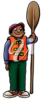 Royalty Free Clipart Image of a Guy With a Paddle