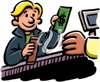 Royalty Free Clipart Image of a Child Buying a Candy Bar