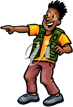 Royalty Free Clipart Image of a Man Pointing