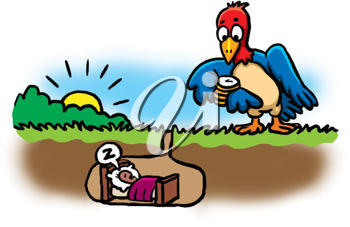 Royalty Free Clipart Image of a Bird Waiting for a Worm to Wake Up