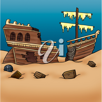 Royalty Free Clipart Image of a Sunken Ship