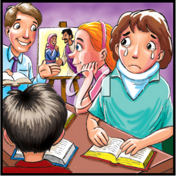 Royalty Free Clipart Image of a Girl Crying in a Classroom
