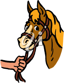 Royalty Free Clipart Image of a Hand Holding a Horse's Rein