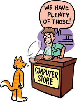 Royalty Free Clipart Image of a Man at a Computer Store Talking to a Cat
