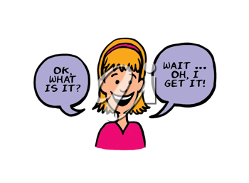 Royalty Free Clipart Image of a Girl Talking