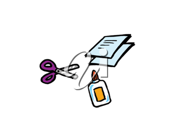 Royalty Free Clipart Image of Glue, Scissors and Paper
