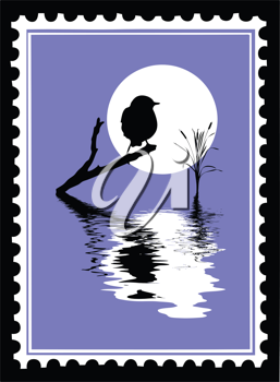 Royalty Free Clipart Image of a Bird Stamp