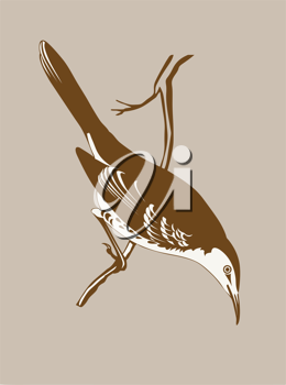 Royalty Free Clipart Image of a Bird Sitting on a Branch