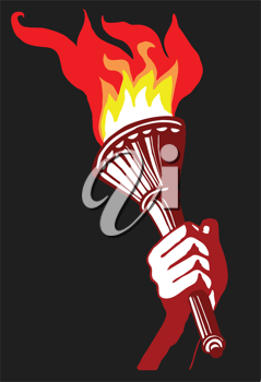Royalty Free Clipart Image of a Person Holding a Torch