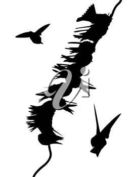 Royalty Free Clipart Image of Birds on a Wire