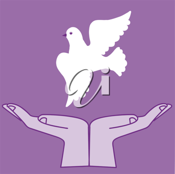 Royalty Free Clipart Image of a Flying Dove
