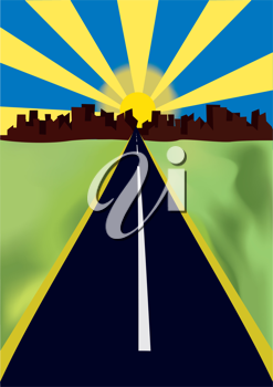 Royalty Free Clipart Image of a Highway Leading to the City
