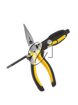 Screw-driver, flat-nose pliers on a white background.