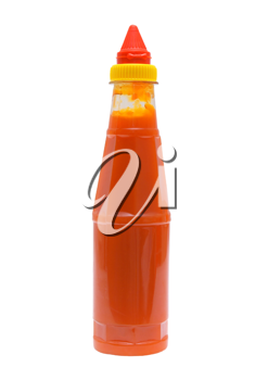Piquant sauce of chile on a white background.