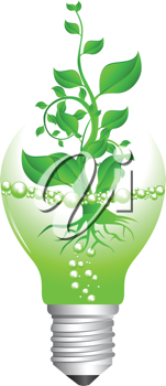 Royalty Free Clipart Image of a Plant Bursting From a Broken Light Bulb