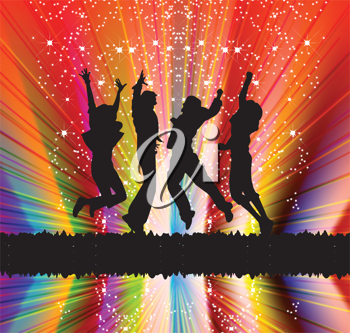 Royalty Free Clipart Image of Silhouettes of Happy People Jumping
