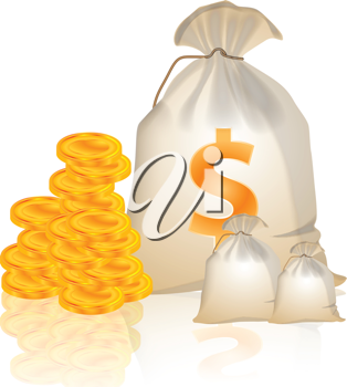 Royalty Free Clipart Image of Money and Bags
