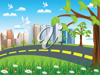 Royalty Free Clipart Image of a City and Road