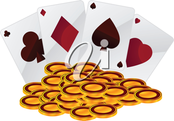 Royalty Free Clipart Image of Coins and Playing Cards