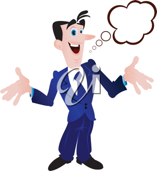 Royalty Free Clipart Image of a Man in a Suit With a Speech Bubble
