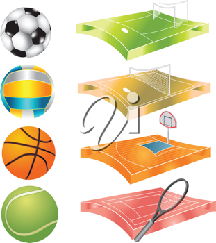 Royalty Free Clipart Image of Sports Balls and Where They're Played
