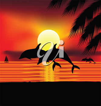 Royalty Free Clipart Image of Dolphins at Sunset
