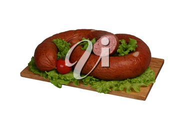 Smoked sausage with tomato and lettuce on wooden board.
