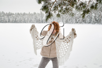 Royalty Free Photo of a Woman Outside in Winter
