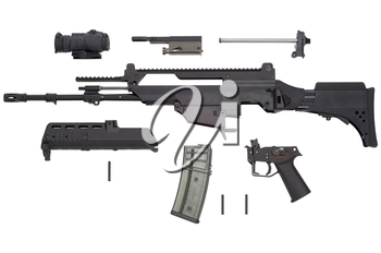 Advanced automatic weapon G36 in armament of NATO and German army.