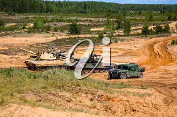 Tanks and armored vehicles in Latvia. International Military Training Saber Strike 2017, Adazi, Latvia, from 3 to 15 June 2017. US Army Europe-led annual International military exercise Saber Strike Field Training Exercise in Latvia.