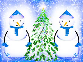Royalty Free Clipart Image of Two Snowmen by a Christmas Tree