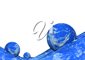 Royalty Free Clipart Image of Spheres on Water