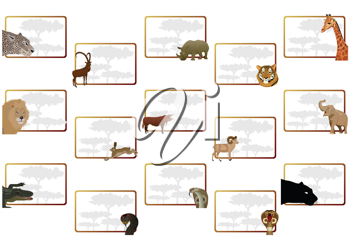 Royalty Free Clipart Image of Framed Animal Designs