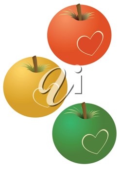 Royalty Free Clipart Image of Three Apples