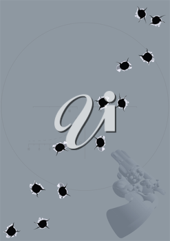 Royalty Free Clipart Image of a Background of Bullet Holes