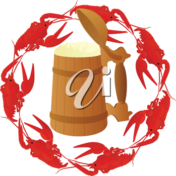 Royalty Free Clipart Image of Crayfish and Beer