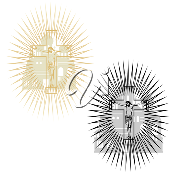 Abstract image of the crucifixion on the background of the church. The illustration on a white background.