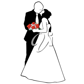 Man and woman kissing. The illustration on a white background.