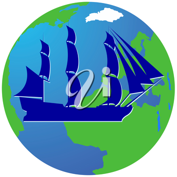 Ancient sailing ship on the background of the Earth. The illustration on a white background.