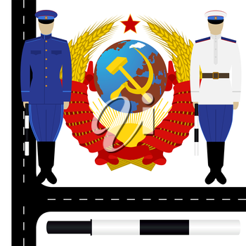 Uniform traffic police in the USSR on the background of the coat of arms of the USSR. The illustration on a white background.