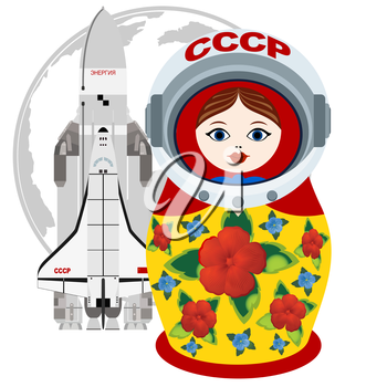 Russian matryoshka astronaut and rocket on a background of the Earth. The illustration on a white background.