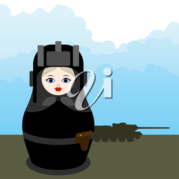 Russian nesting doll in military uniform against the background of military equipment.