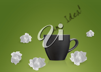 Royalty Free Photo of a Background with the Words Any Idea with a Coffee Cup and Crumpled up Papers