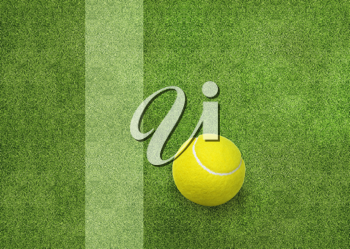 Royalty Free Photo of a Tennis Ball on the Field by the Boundary Line