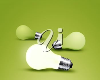Royalty Free Photo of Light Bulbs with one Glowing