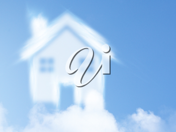 Royalty Free Photo of  Clouds in the Sky in the Shape of a House