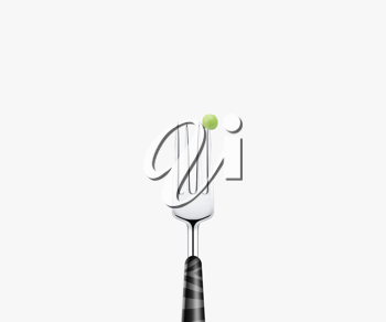 Royalty Free Photo of a Fork with a Pea Stuck on the End