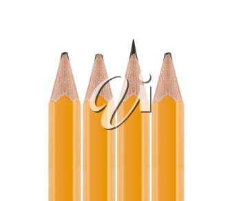 Royalty Free Photo of One Sharpened and Three Dull Pencils