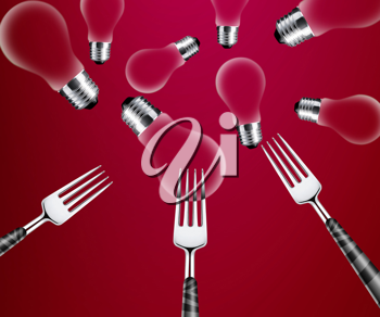 Royalty Free Photo of Three Forks and Several Red Light Bulbs on a Red Background