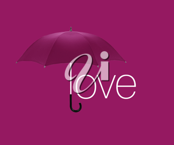 Umbrella inscription  love  on pink  background.